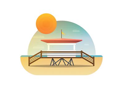 Lifeguard Tower sun beach lifeguard gradient sunset texture illustration icon vector