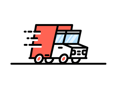 Delivery Truck rush send package shipping logistics road drive vehicle deliver illustration icon vector