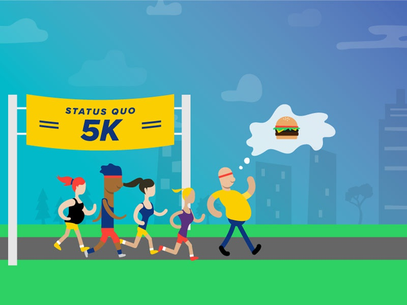 5k city thought marathon motivation race burger running illustration icon vector