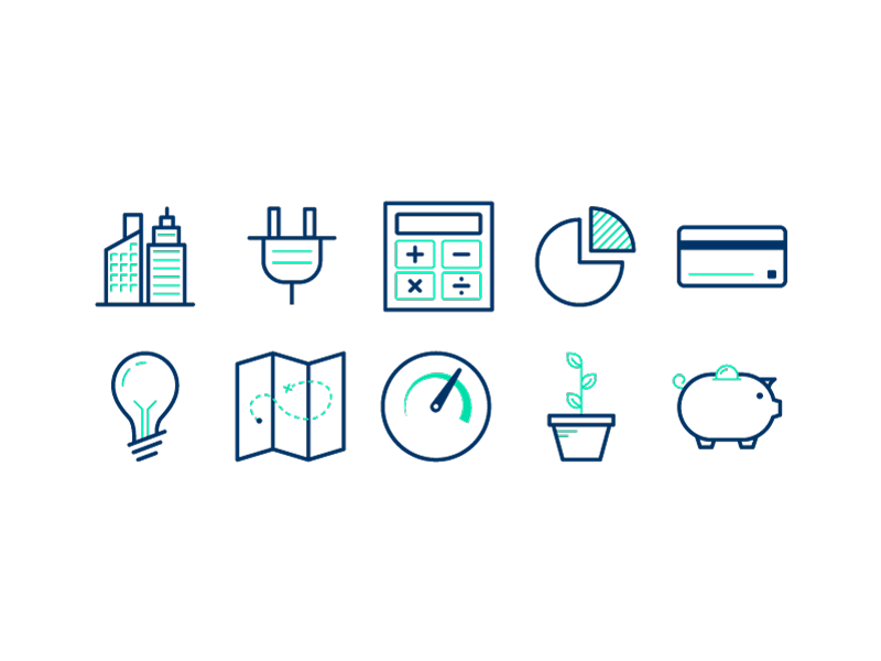 Two color Icons money debt finance idea savings growth credit card report tech ui illustration icon vector