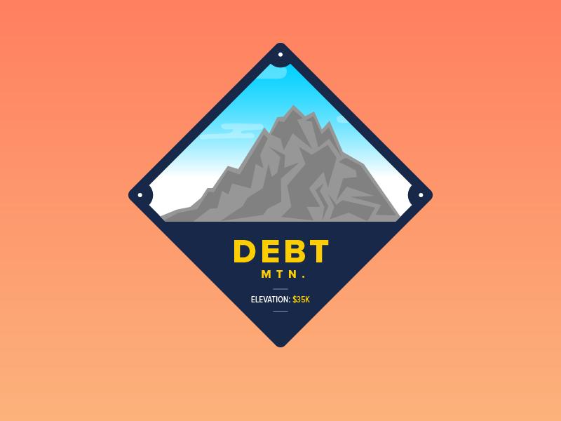 Debt Mountain journey climb pun budget savings debt mountain finance money badge illustration vector