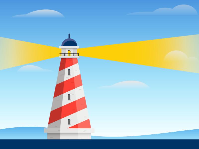 Lighthouse money finances retirement beacon ocean lighthouse sky gradient flat illustration icon vector