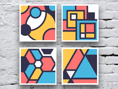 Patterns Prints collection abstract shapes square triangle circles geometric simple pattern illustration icon vector