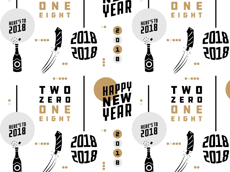 New Years Pattern gold typography champagne fireworks holiday new years party pattern invitation illustration icon vector