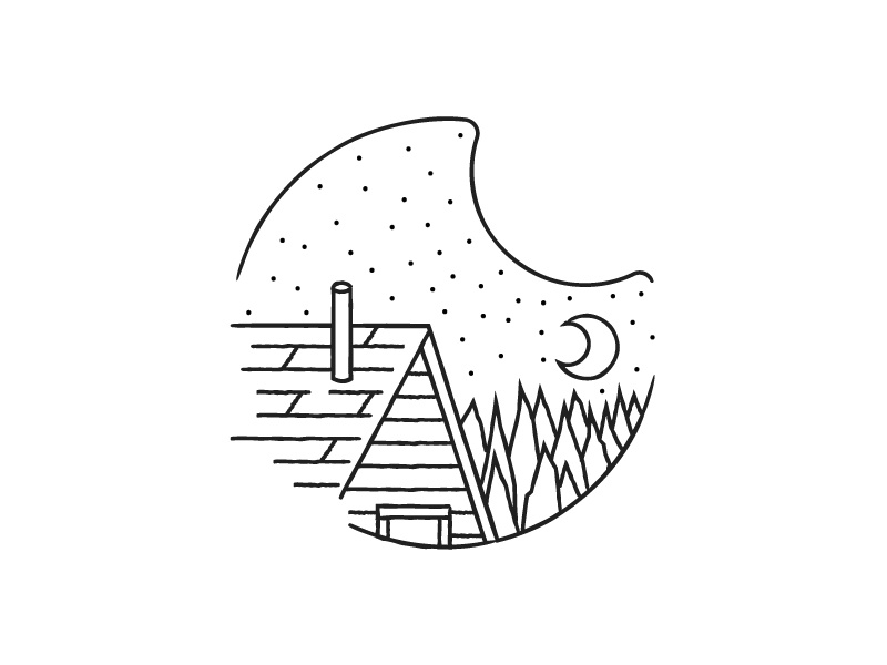 Wilderness Cabin poster etsy print explore outdoors editorial line art black and white spot illustration illustration icon vector