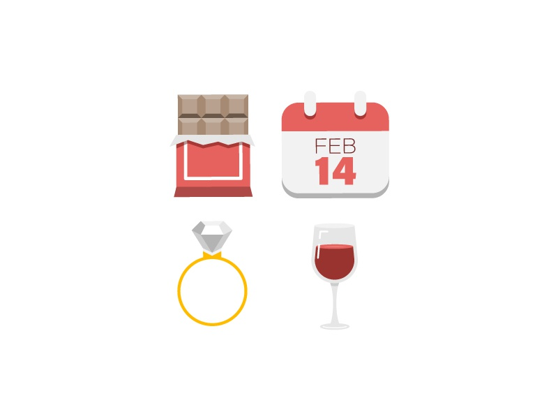 Valentine's Day Icons wine wedding ring calendar chocolate love valentines day icons holiday valentines day icon set illustration icon vector