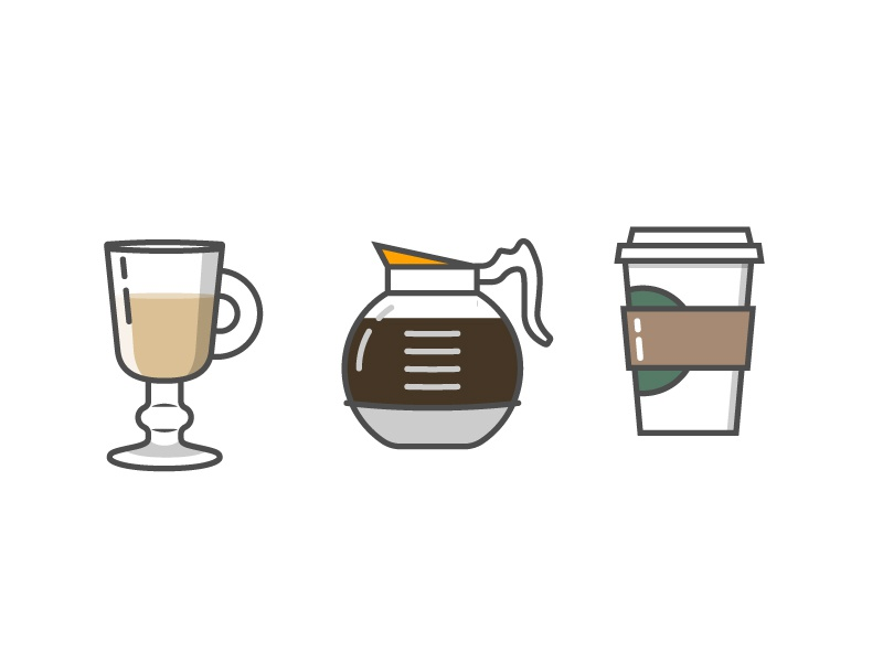 Coffees pour starbucks latte brew water beverage drink spot illustration coffee illustration icon vector