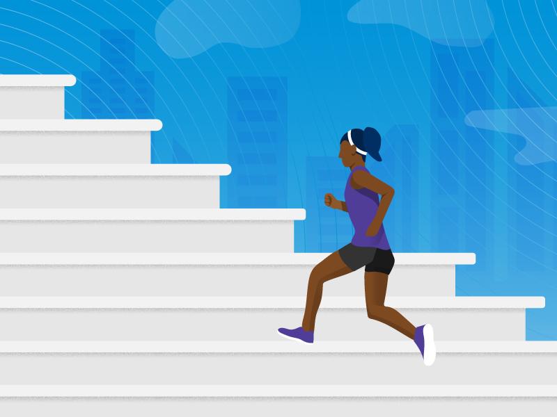 Marathon Training 13.1 training stairs race half marathon runner person illustration icon vector