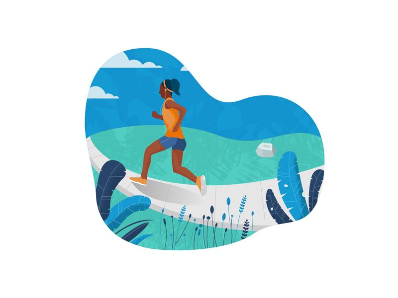 More running photoshop texture leaves training marathon runner editorial spot illustration illustration icon vector