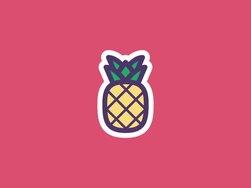 Pineapple sticker set icon set slice hawaiian fruit pina upside down sticker food illustration icon vector