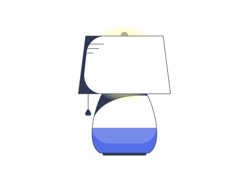 Lamp thin lines stroke outline lamp blue bulb string house light illustration icon iconography vector