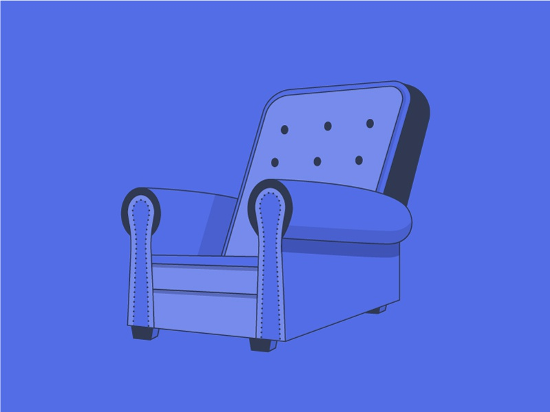Chair furniture indoors house iconography sit blue dark illustration icon vector