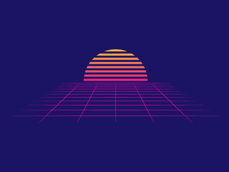 80s Sunset lines grid horizon tron 80s nostalgia iconography illustration icon vector