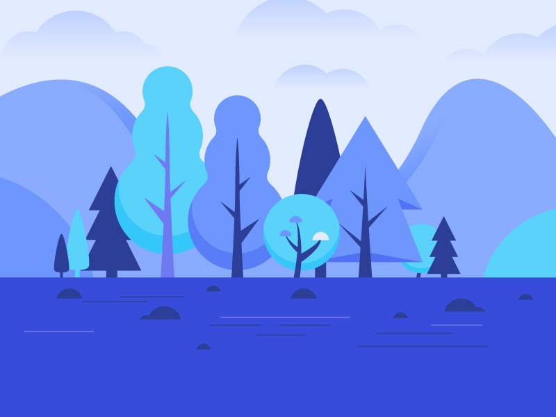 Blue Trees gradient simple clean leaves foliage landscape nature outdoors tree illustration icon vector