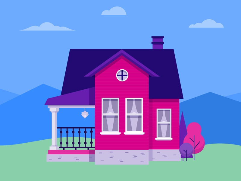 Pink House trees windows sky building iconography illustration icon vector house home