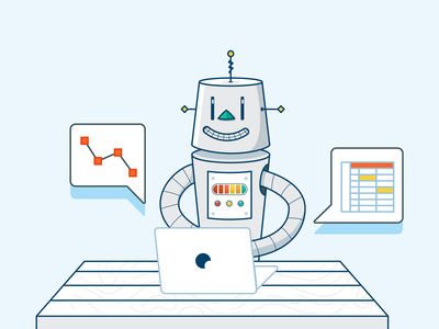 The robots are getting smarter print learning app automation analytics startup training learning robot spot illustration icon illustration vector