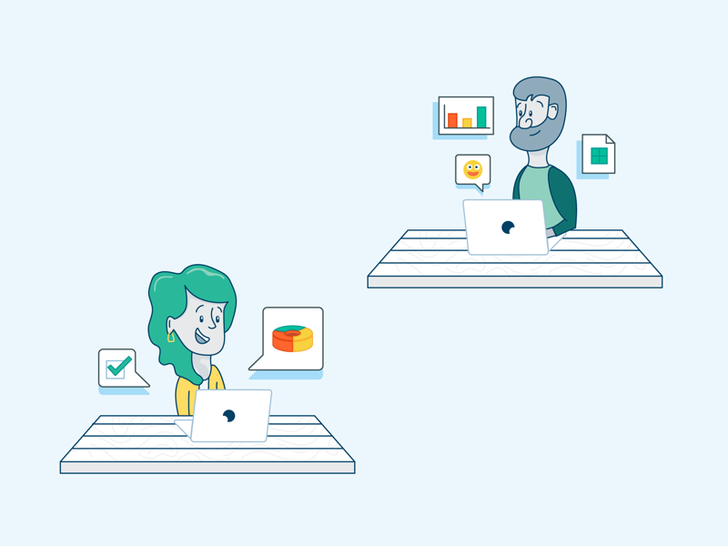 Team Learning information stats desk student laptop professional development training education startup characters people illustration icon vector