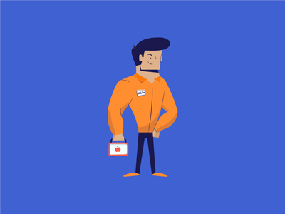 Characters: Mike employee worker lunchbox husband man illustration character design motion graphics icon vector