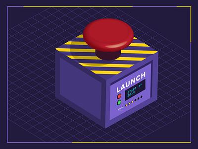 Launch Button rocket launch illustrator illustration art isometric illustration new year kickoff go time button illustration icon vector launch