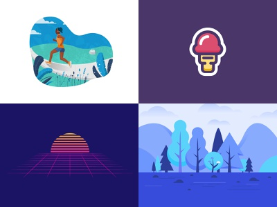 My top 4 in 2018 year nature ice cream concept icon spot illustration illustration vector