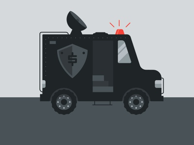 Armored Truck security insurance emergency fund protection police swat money design concept spot illustration icon illustration vector
