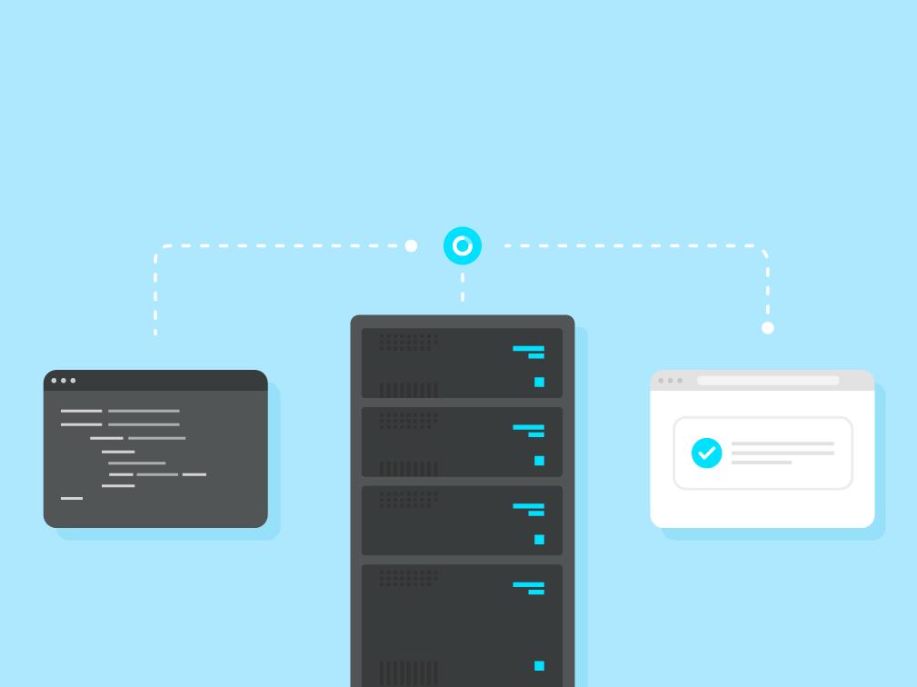 Server Side Rendering - Universal JavaScript Apps digitalization blue illustration rendering network app apps javascript server room servers