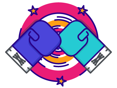 Knockout Illustration – First Shot boxing glove stars boxing glove gloves knockout