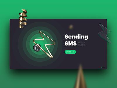Sending SMS ui ux illustration 3d web