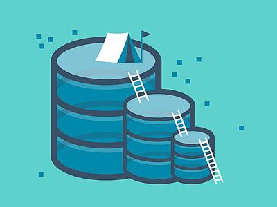 Conquering SQL it tent blue database illustration