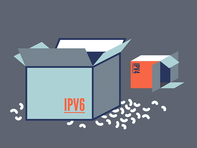 First IT Certifications - Unpacking IPv6 packaging peanuts box flat illustration