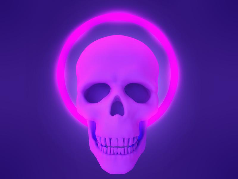 Neon skull violet illumination ultraviolet shine light neon bone character concept 3dsmax head skull render 3d