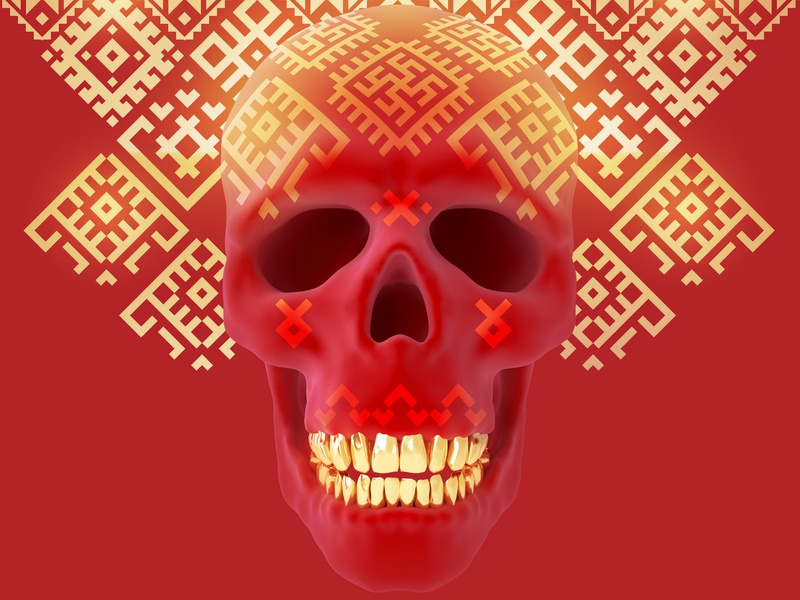 Ornamental ethnic red ornament golden 3dsmax character concept death skull head art render 3d
