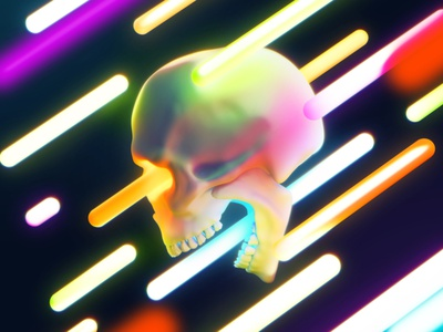Neon skull tubes bone lamp colorful bright color light neon design death skull head concept 3dsmax art render 3d