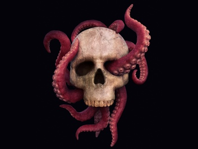 Tentacles fantasy octopus sea realistic abstract marine beast monster tentacles death head skull concept 3dsmax art render 3d
