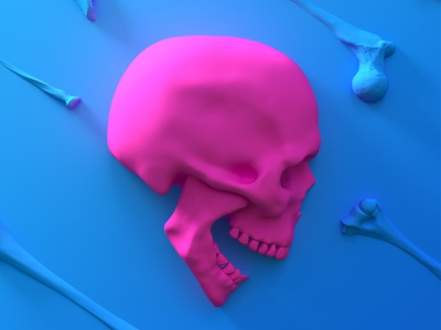 Pink skull bone wallpaper blue pink color cartoon design death head skull concept 3dsmax art render 3d