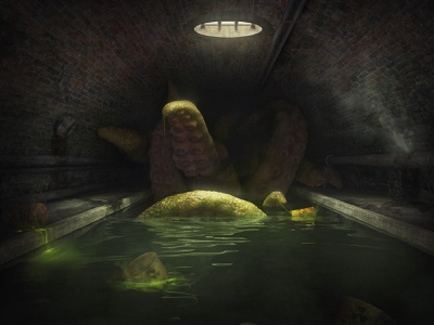 Sewer monster creature realistic radioactive city toxic tentacle giant octopus beast monster tunnel sewer concept 3dsmax art render 3d
