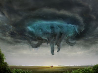 Cyclone rain realistic illustration art summer farm field octopus monster tentacle storm thunderstorm sky nature concept render 3d