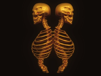 Golden twins realistic 3d metal twins gold bones head death skull concept 3dsmax art render 3d