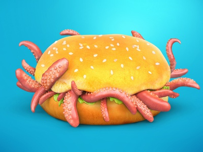 Octo burger sea colorful monster realistic cartoon tentacles food octopus burger fastfood concept 3dsmax art render 3d