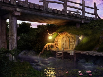 Home troll light old river build tale summer night nature realistic fairy home troll bridge concept 3dsmax art render 3d