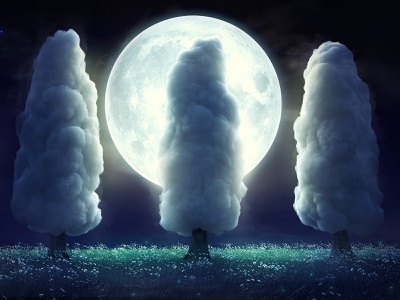 Full moon 3d art abstract cloud moon night summer surreal surrealism design concept 3dsmax art render 3d