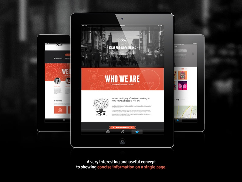 504 Creative - One page Design freebie psd template free download one page website