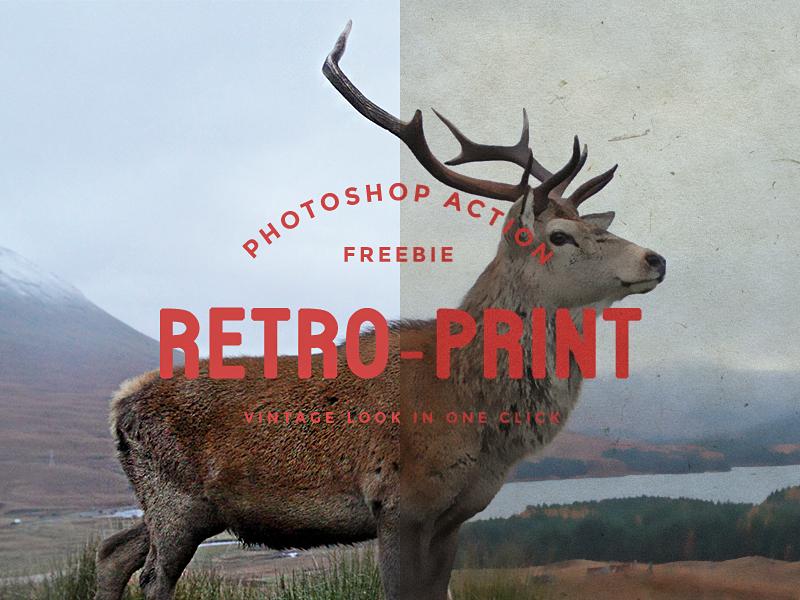 Retro Print Photoshop Action Freebie vintage retro style old paintted ads photoshop action freebie