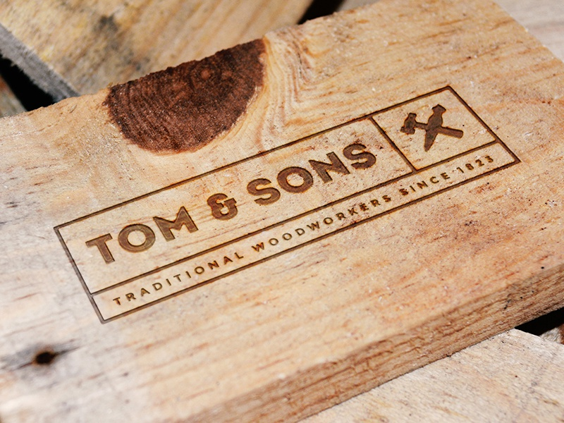 Engraved Wood Logo Mockup engraved wood resource photoshop mockup logo