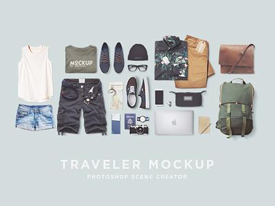 Traveler Mockup PSD Freebie psd file photoshop vacations travel fashion freebie mockup traveler