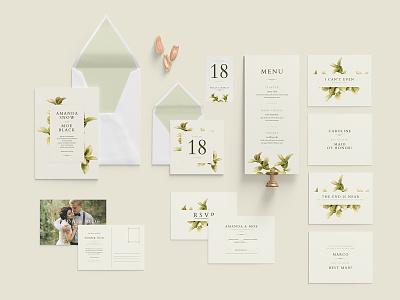 Wedding Invitation Green Foliage wedding invitation wedding invite