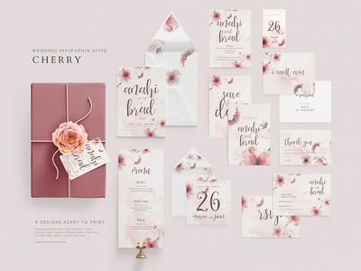 Wedding Invitation Suite - Cherry invite wedding cherry
