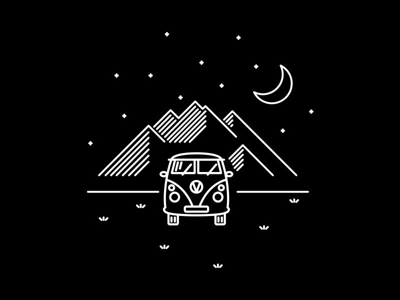 VW Bus graphic design print design bus vw drawing illustrator illustration