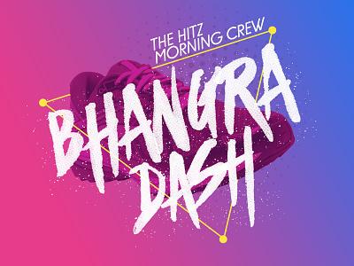 Bhangra Dash title graphic design blue purple hitz