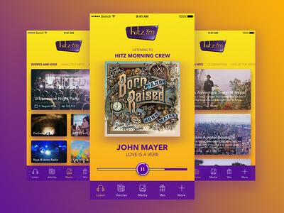 hitzfm Mobile App hitz hitzfm music radio yellow purple app mobile mobile app